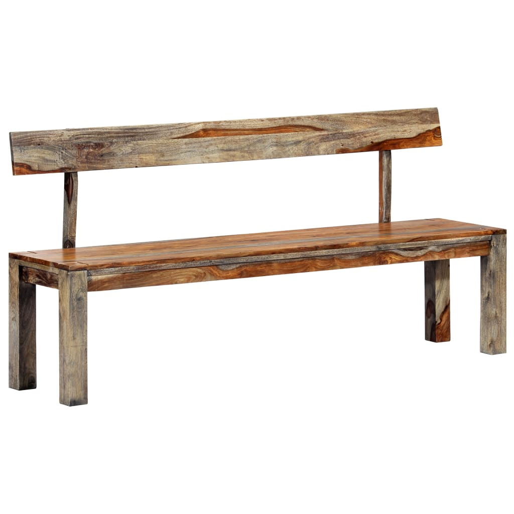 vidaXL Lavička 160 cm sivá masívne sheeshamové drevo