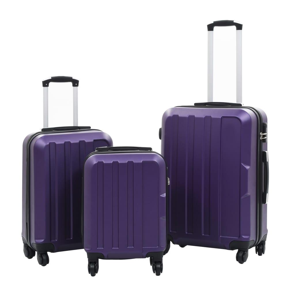 vidaXL Súprava kufrov s tvrdým krytom 3 ks fialová ABS