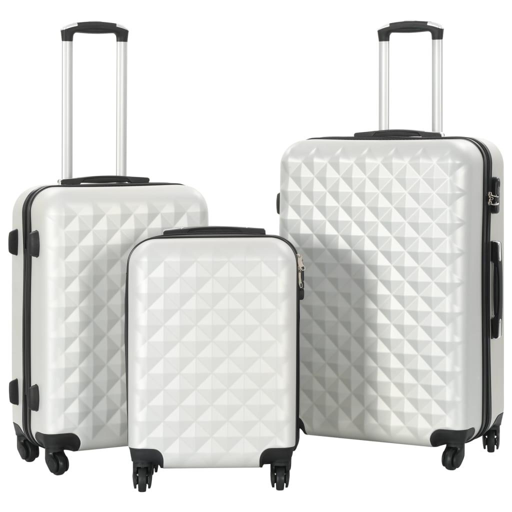 vidaXL Súprava 3 cestovných kufrov s tvrdým krytom strieborná ABS