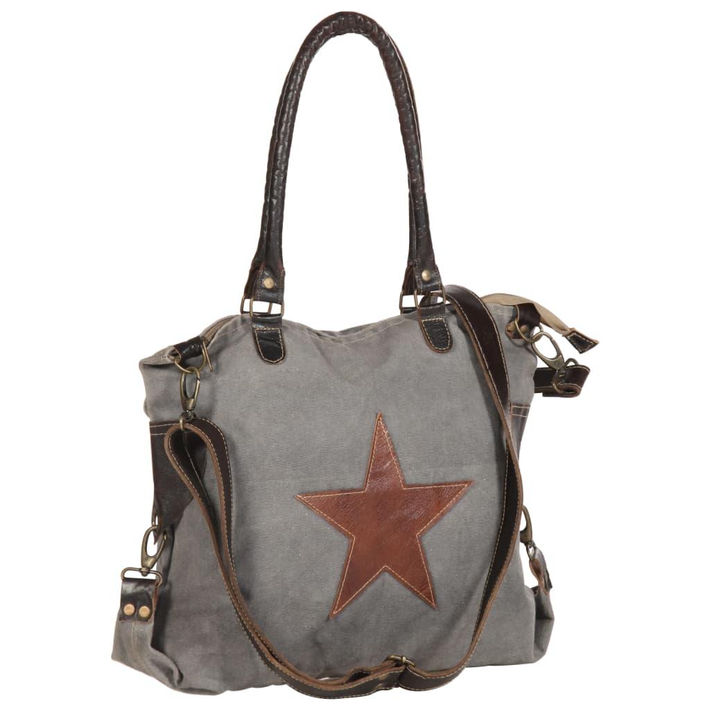 vidaXL Nákupná taška tmavošedá 41x63 cm plátno a pravá koža