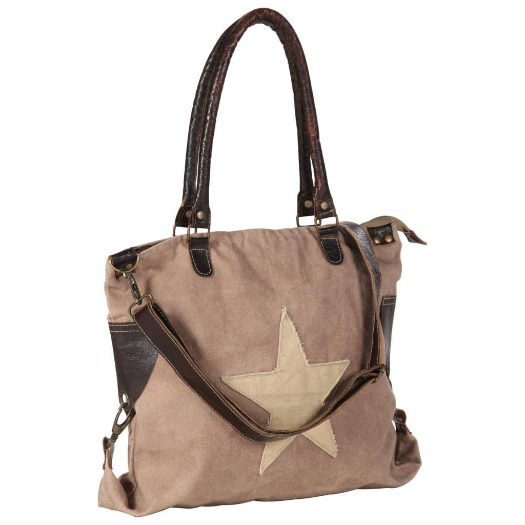 vidaXL Nákupná taška hnedá 41x63 cm plátno a pravá koža