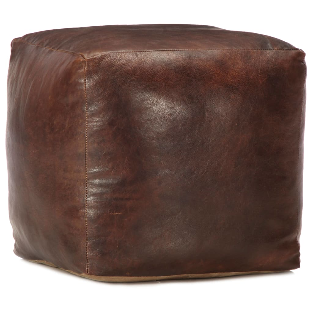 vidaXL Taburetka z pravej kozej kože tmavohnedá 40x40x40 cm