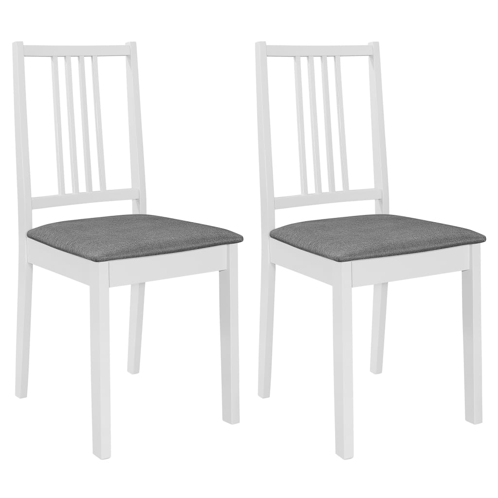 vidaXL Jedálenské stoličky s podložkami 2 ks, biele, drevený masív