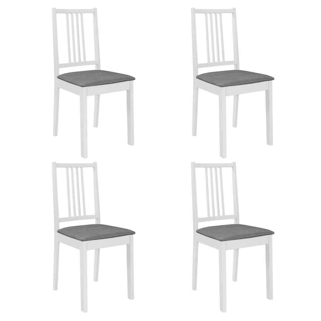 vidaXL Jedálenské stoličky s podložkami 4 ks, biele, drevený masív