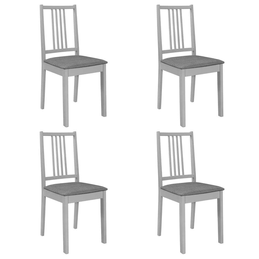 vidaXL Jedálenské stoličky s podložkami 4 ks, sivé, drevený masív