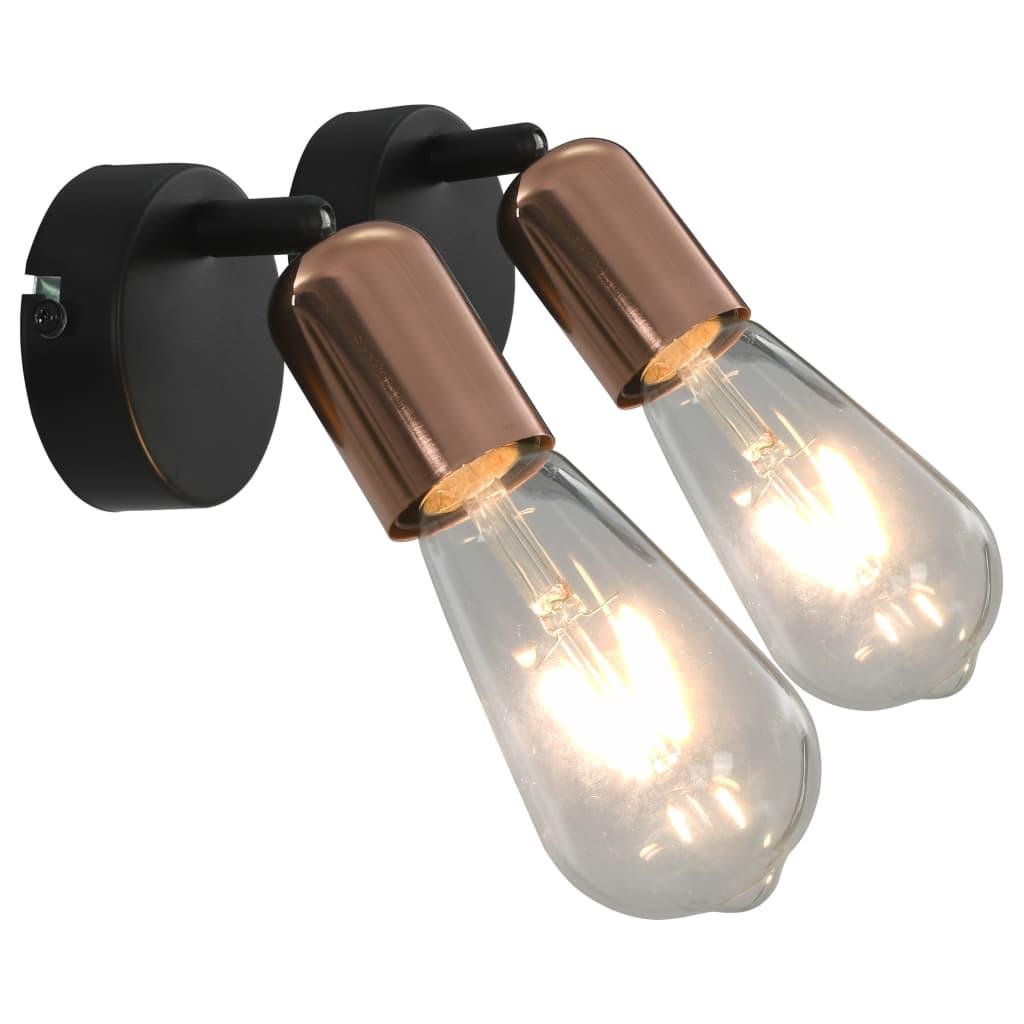 vidaXL Bodové svetlá 2 ks, vláknové žiarovky 2 W, čierno medené E27