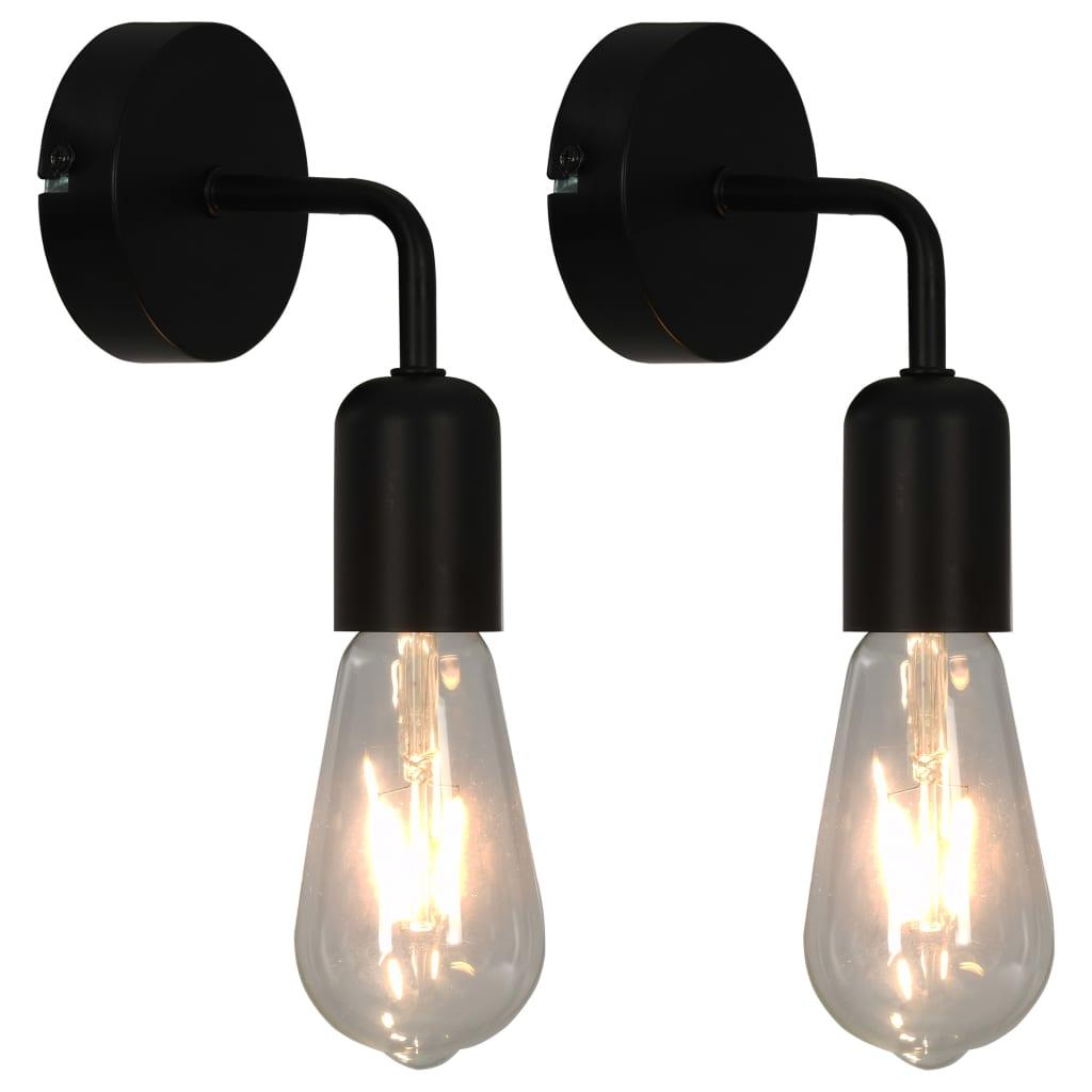 vidaXL Nástenné svietidlá 2 ks s vláknovými žiarovkami čierne 2 W E27