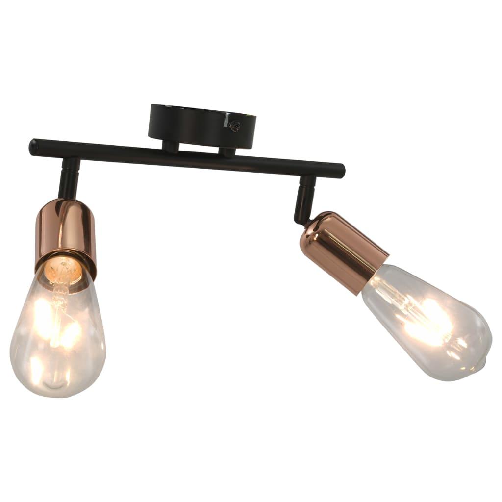 vidaXL 2-cestné stropné svietidlo s vláknovými žiarovkami 2 W čierne a medené E27