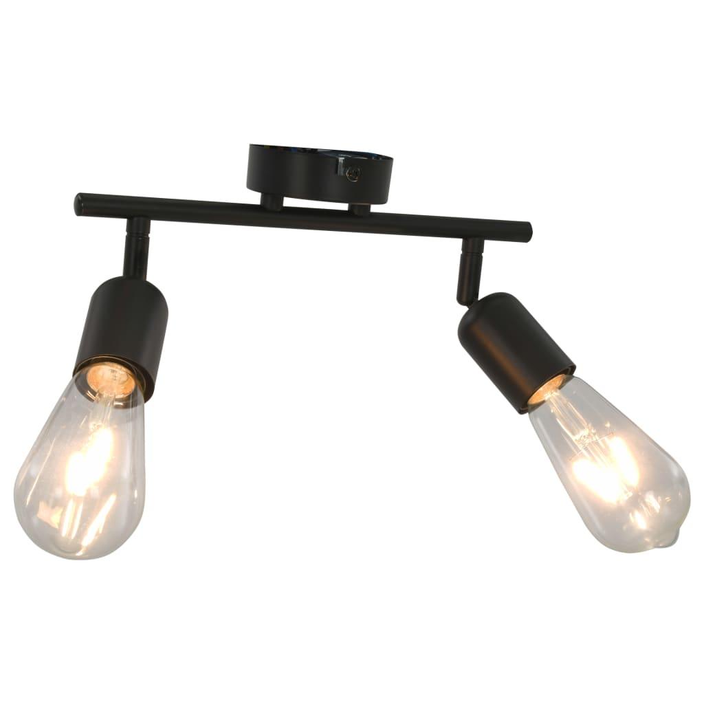 vidaXL 2-smerné bodové svetlo s vláknovými žiarovkami 2 W čierne E27