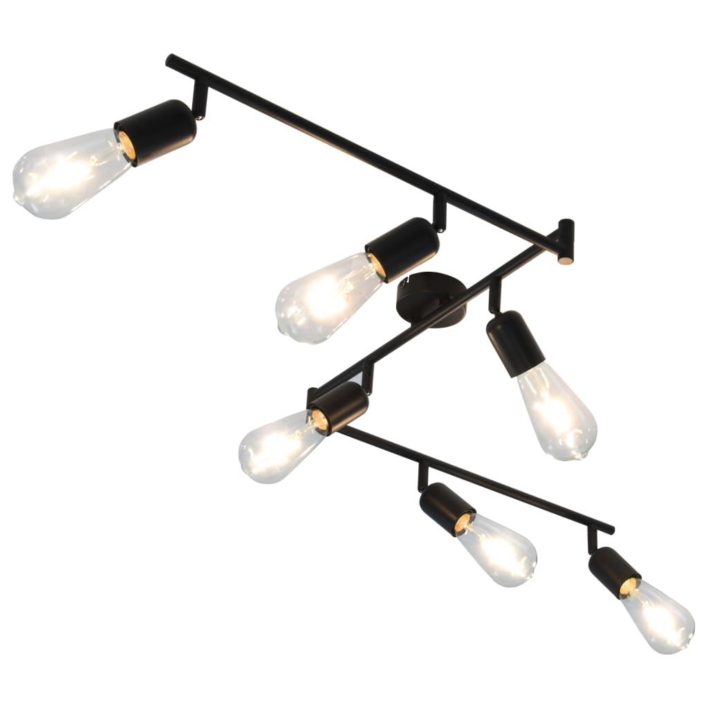 vidaXL 6-smerové bodové svetlo s vláknovými žiarovkami čierne 30 cm 2 W E27