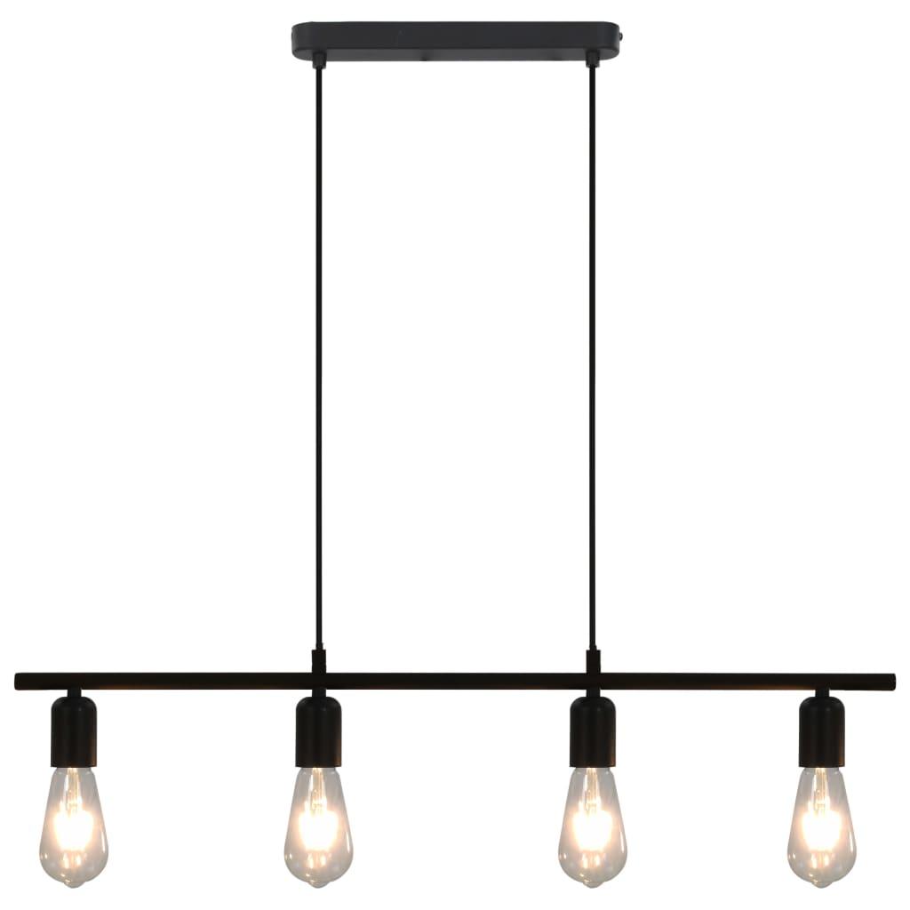 vidaXL Stropné svietidlo s vláknovými žiarovkami čierne 80 cm 2 W E27