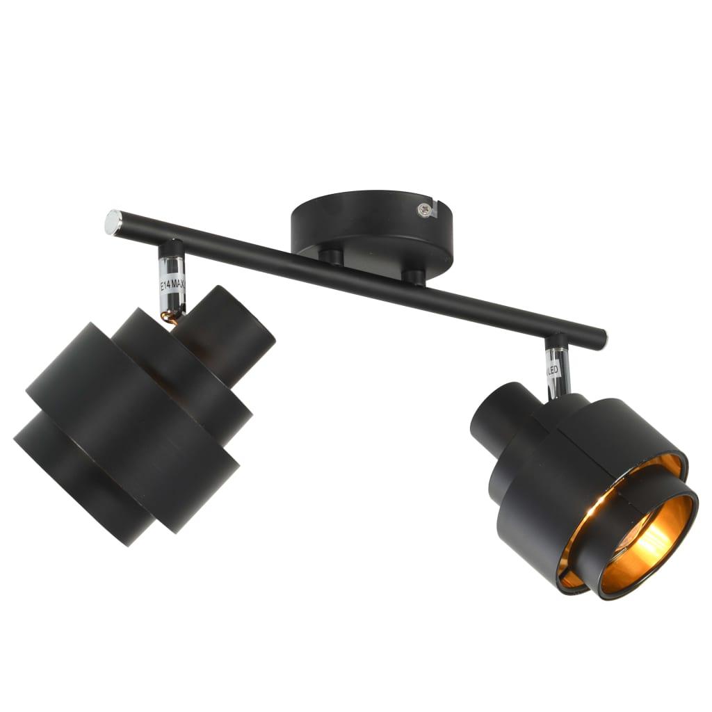 vidaXL 2-smerný reflektor čierny E14
