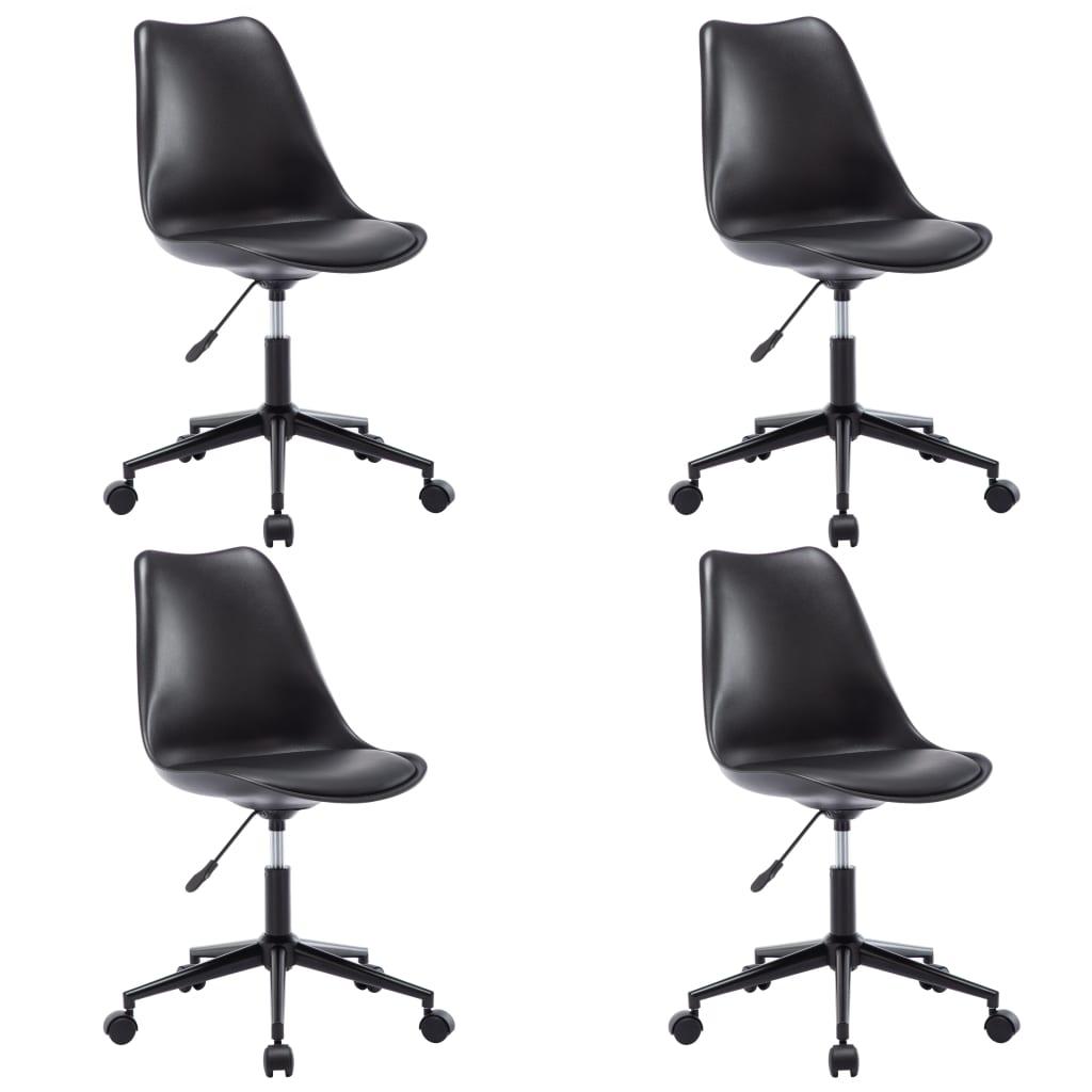 vidaXL Otočné jedálenské stoličky 4 ks čierne umelá koža