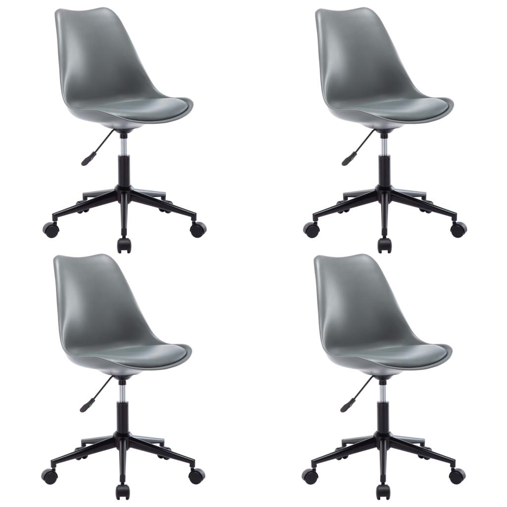 vidaXL Otočné jedálenské stoličky 4 ks sivé umelá koža