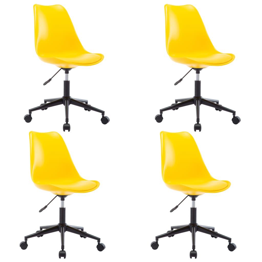 vidaXL Otočné jedálenské stoličky 4 ks žlté umelá koža