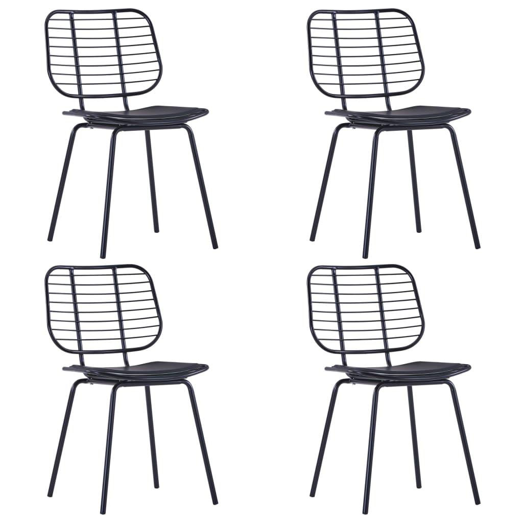 vidaXL Jedálenské stoličky so sedadlami z umelej kože 4 ks čierne oceľ