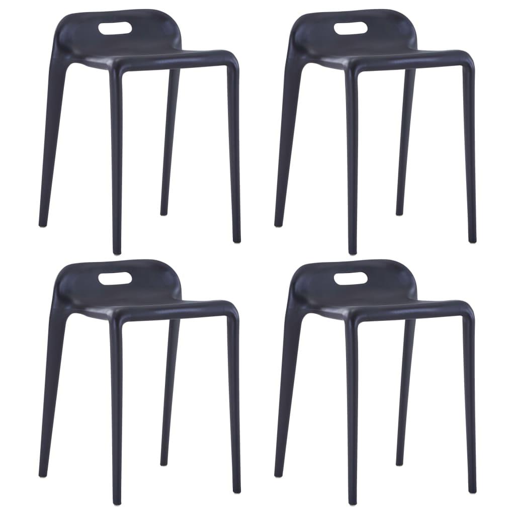 vidaXL Stohovateľné stoličky 4 ks čierne plastové