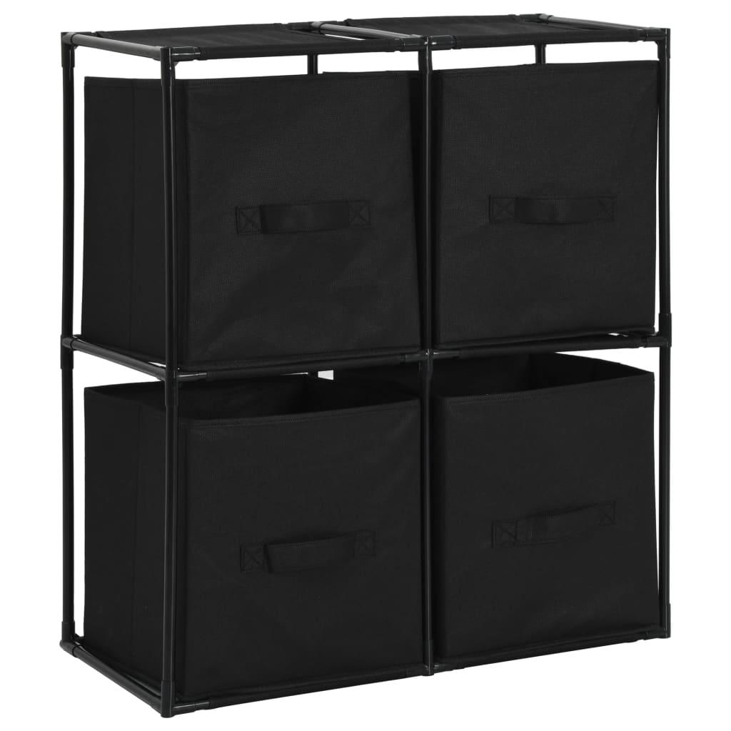 vidaXL Úložná skrinka so 4 látkovými košmi čierna 63x30x71 cm oceľová