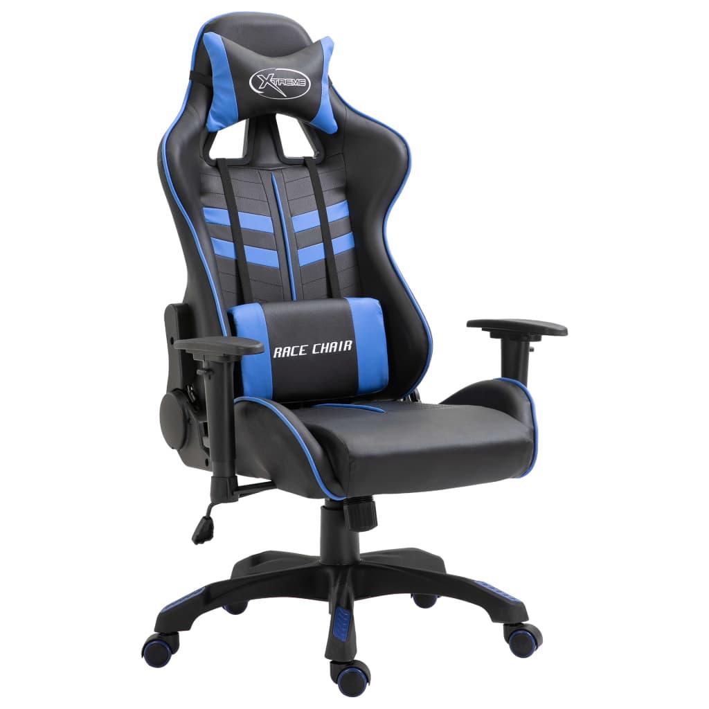vidaXL Herná stolička, modrá, umelá koža