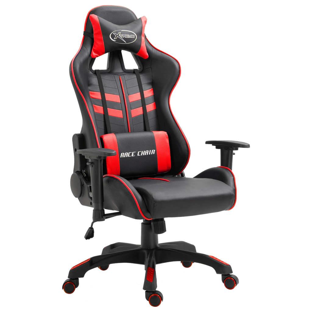 vidaXL Herná stolička, červená, umelá koža