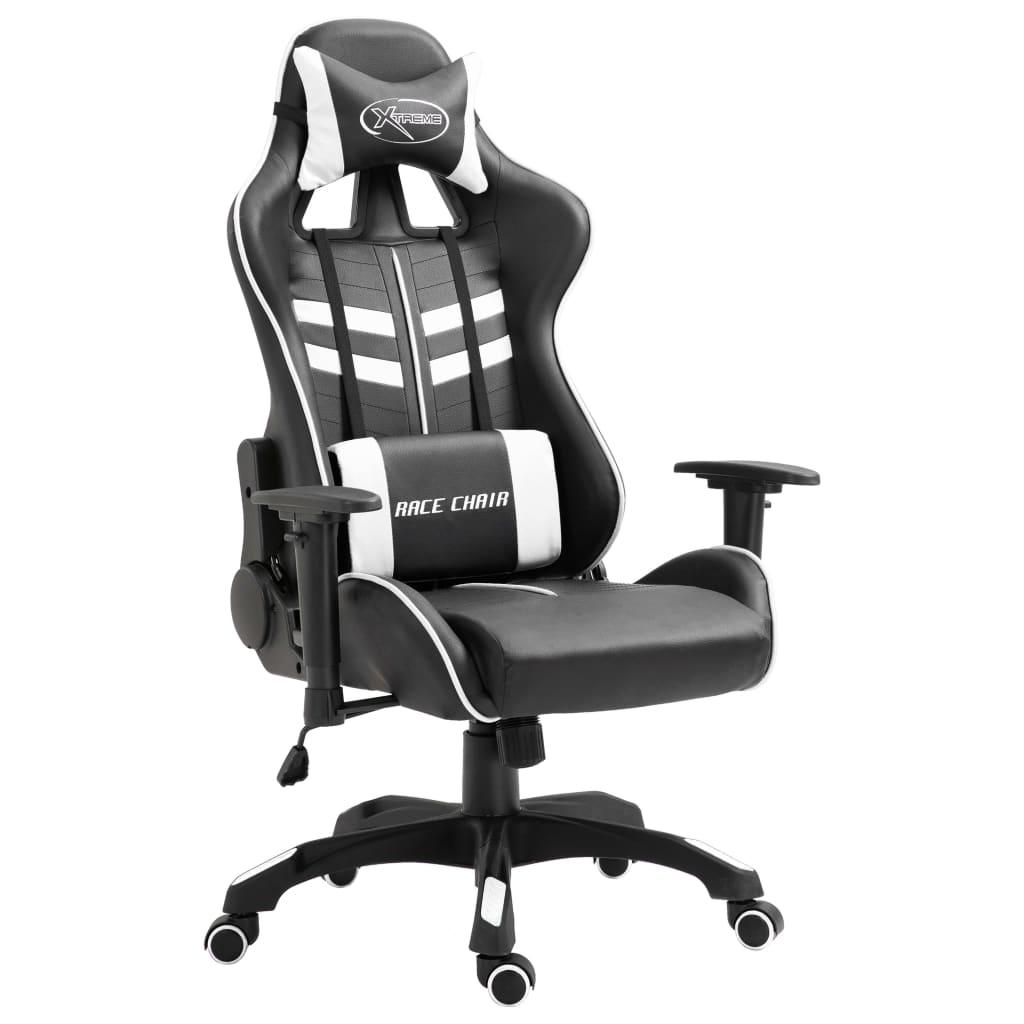 vidaXL Herná stolička biela PU