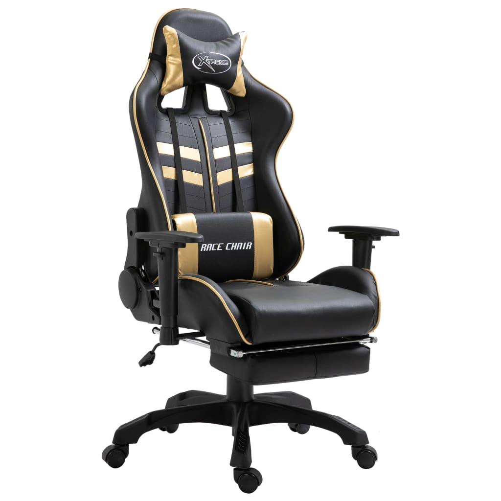 vidaXL Herná stolička s opierkami zlatá PU
