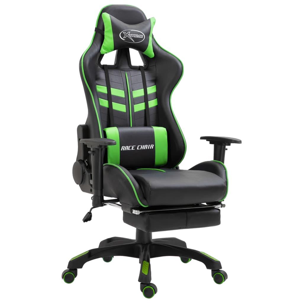 vidaXL Herná stolička s opierkami zelená PU