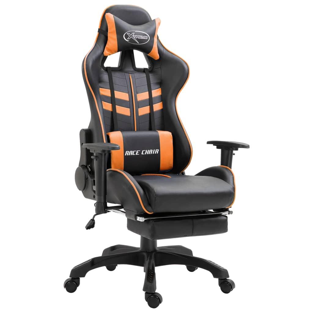 vidaXL Herná stolička s opierkou na nohy, oranžová, umelá koža