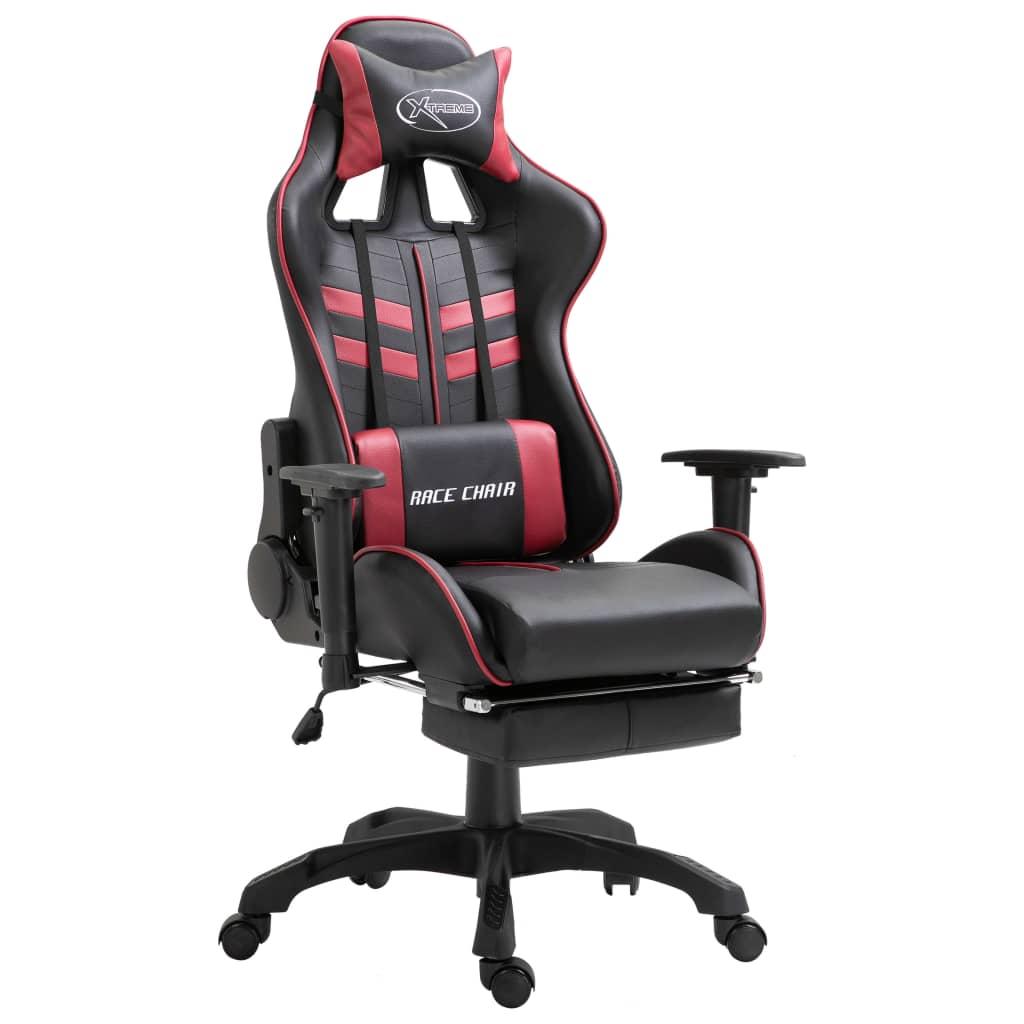 vidaXL Herná stolička s opierkami vínovo-červená PU