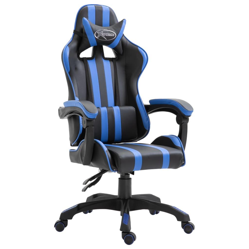 vidaXL Herná stolička modrá PU