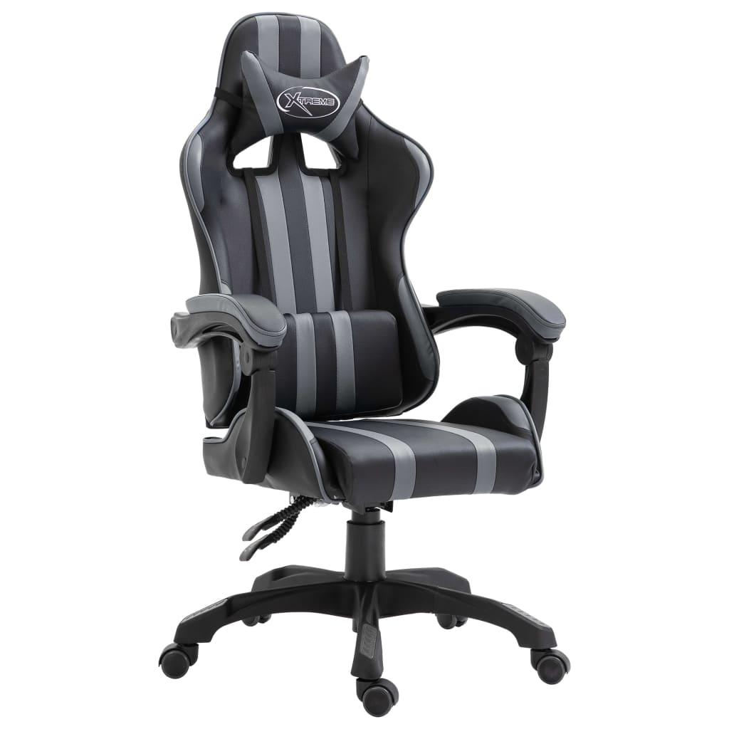 vidaXL Herná stolička sivá PU