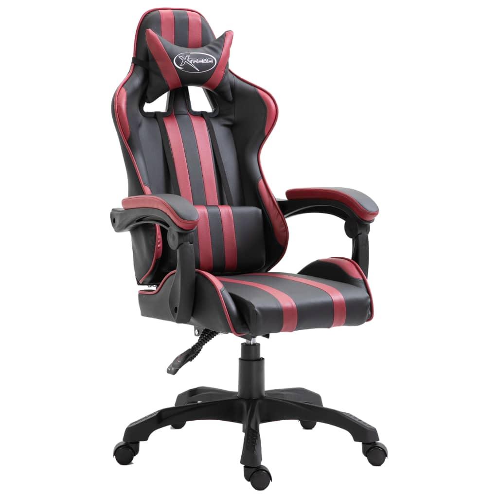 vidaXL Herná stolička vínovo-červená PU