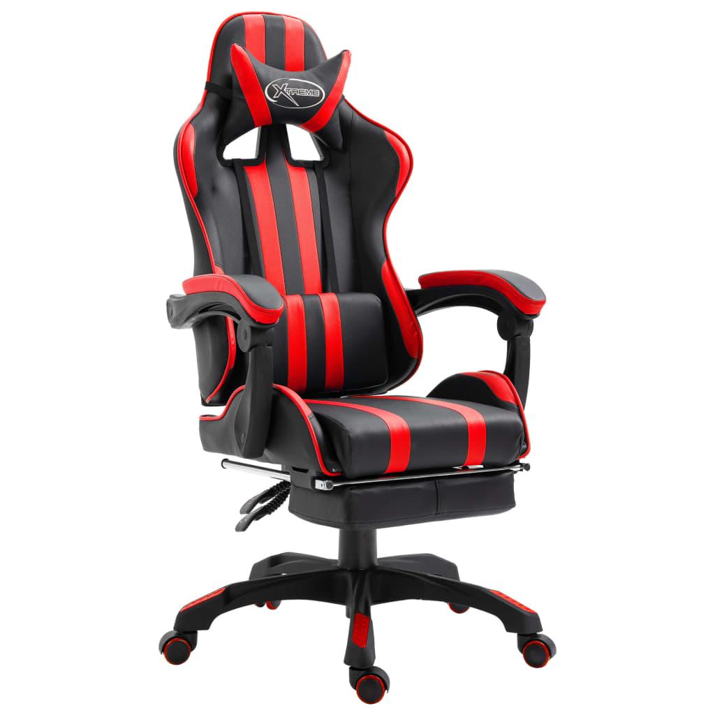 vidaXL Herná stolička s opierkami červená PU