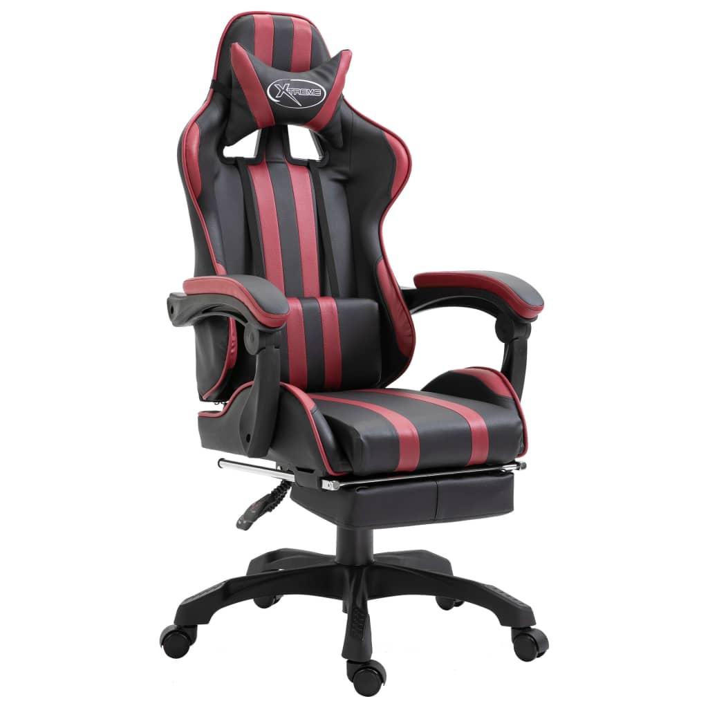 vidaXL Herná stolička s opierkou na nohy, vínovo červená, umelá koža