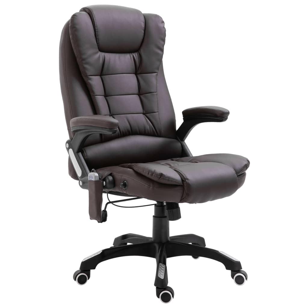 vidaXL Masážne kancelárske kreslo hnedé umelá koža