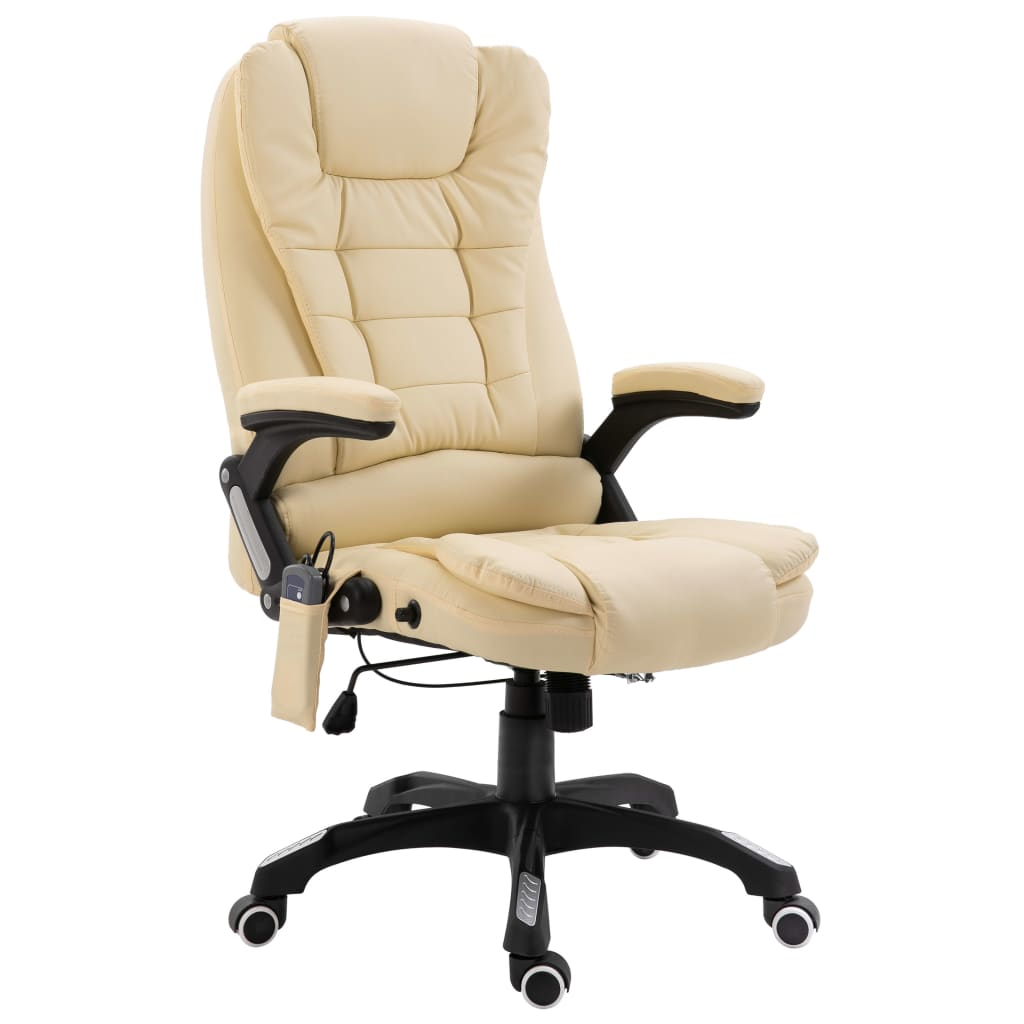 vidaXL Masážne kancelárske kreslo krémové umelá koža