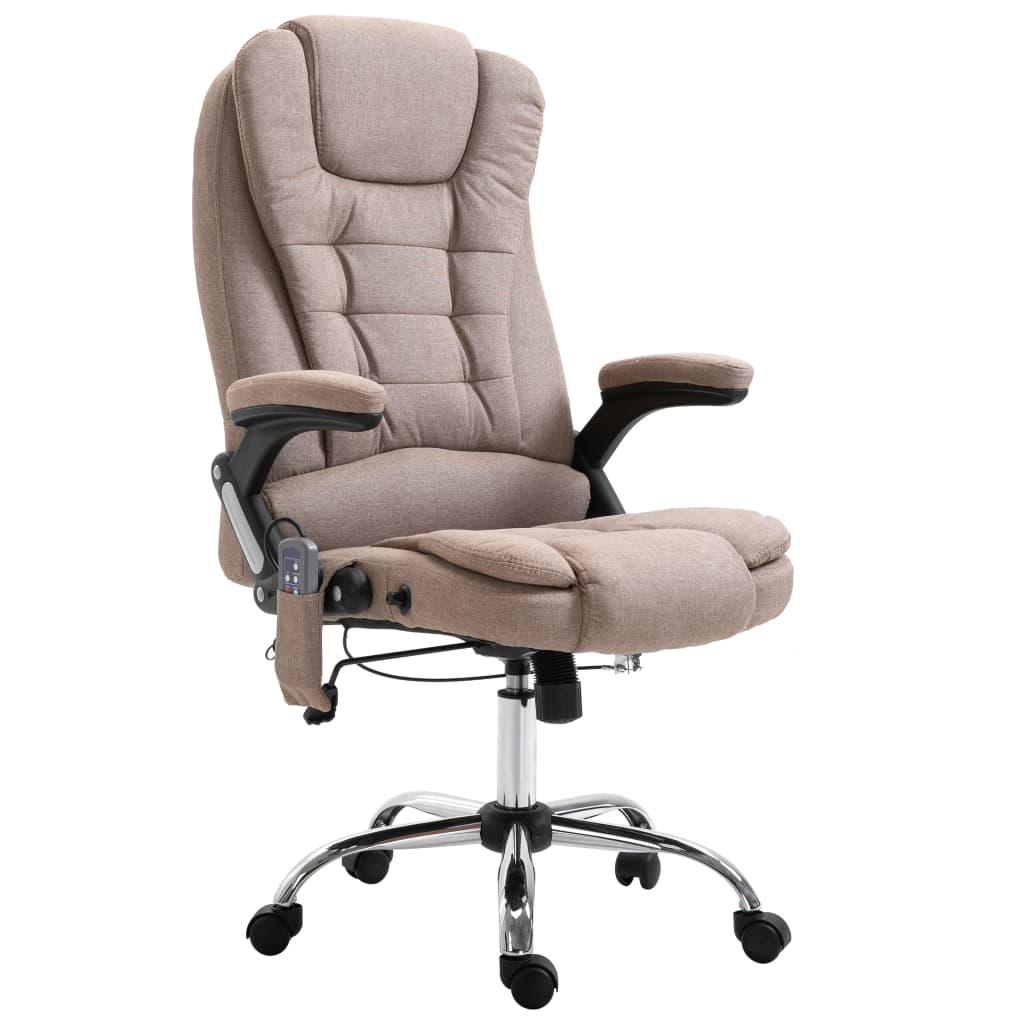 vidaXL Masážne kancelárske kreslo šedohnedé polyester