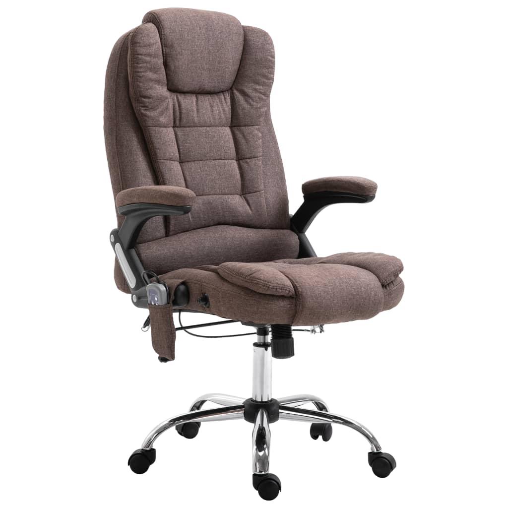 vidaXL Masážne kancelárske kreslo hnedé polyester