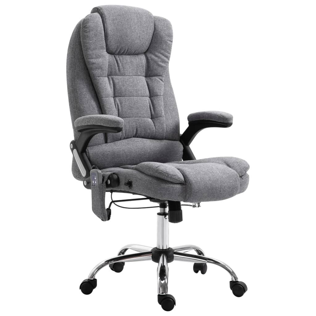 vidaXL Masážne kancelárske kreslo sivé polyester