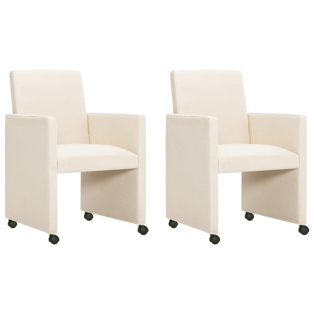 vidaXL Jedálenské stoličky 2 ks krémové látkové