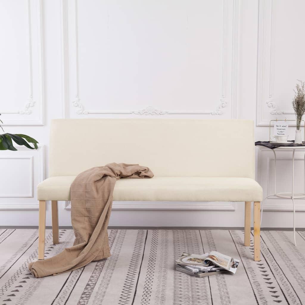 vidaXL Lavica 139,5 cm krémová polyester