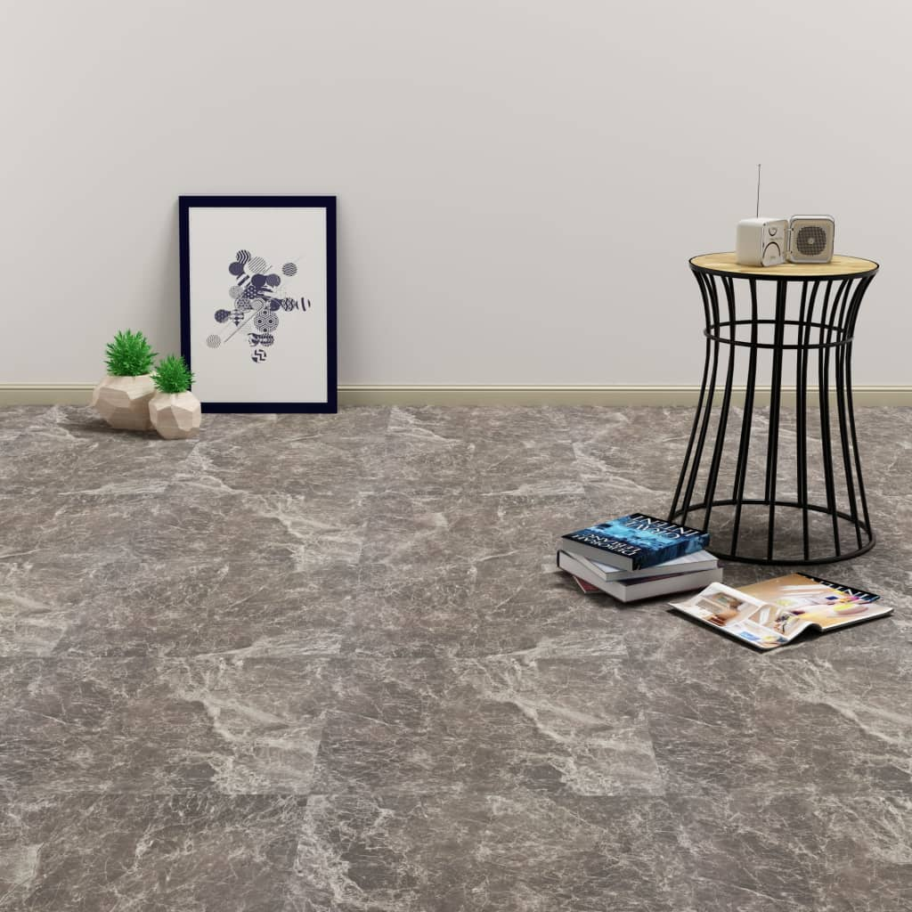 vidaXL Samolepiace podlahové PVC dosky čierne 5,11 m² mramorové