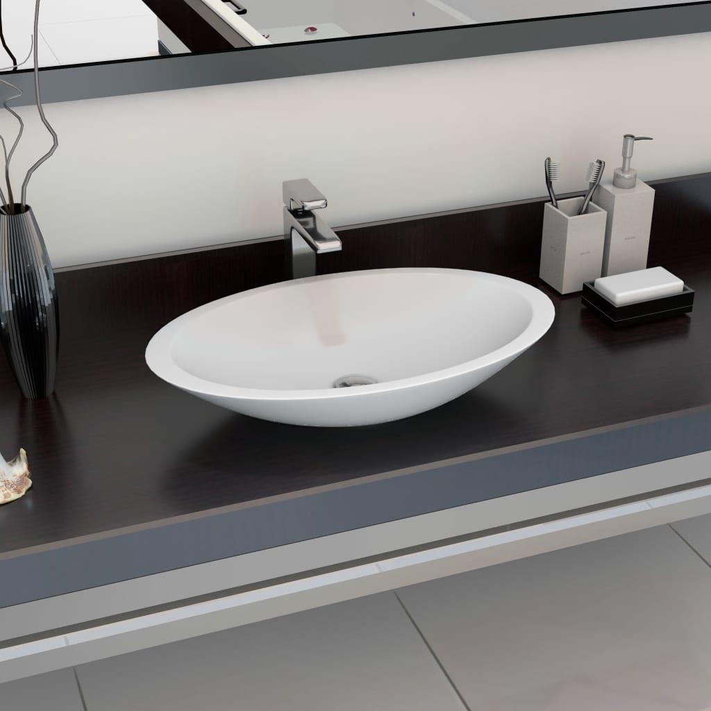 vidaXL Umývadlo z minerálneho/mramoroveho odliatku 59,3x35,1x10,7 cm biele