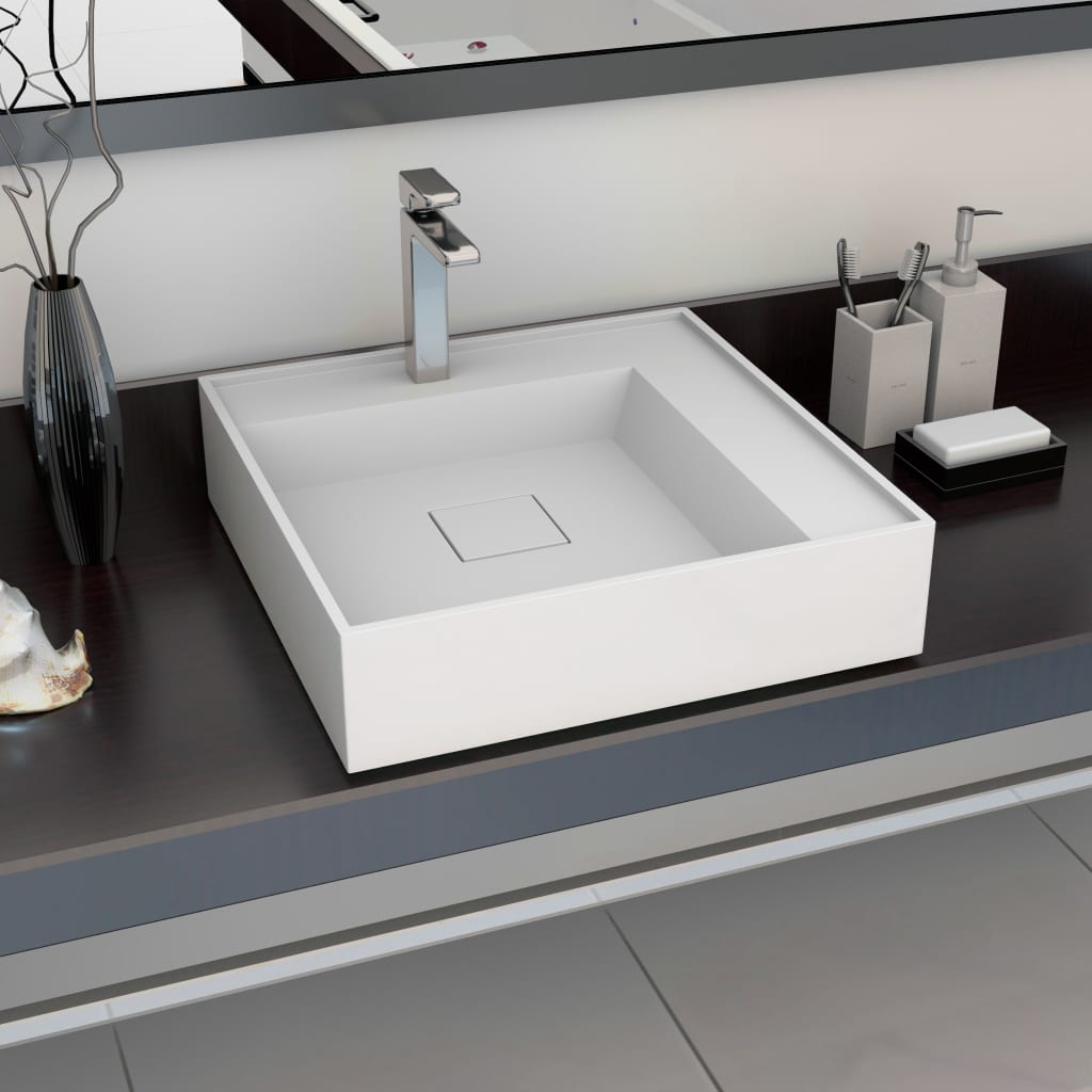 vidaXL Umývadlo z minerálneho/mramoroveho odliatku 50x50x12,3 cm biele