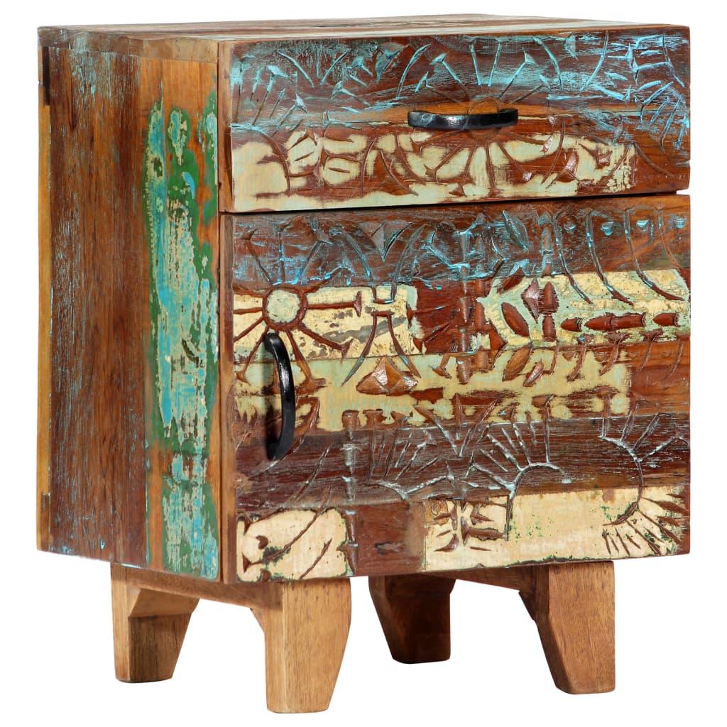 vidaXL Ručne vyrezávaný nočný stolík 40x30x50 cm masívne recyklované drevo
