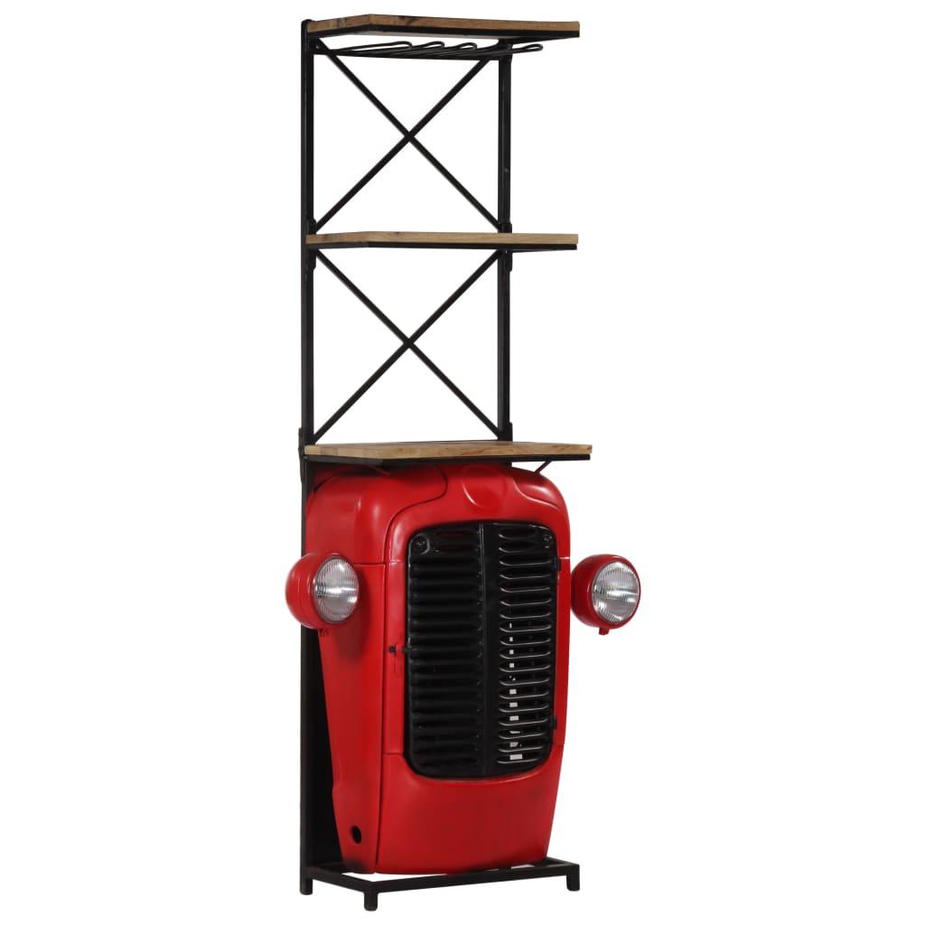 vidaXL Skrinka na víno s dizajnom traktora 49x32x183 cm, mangový masív