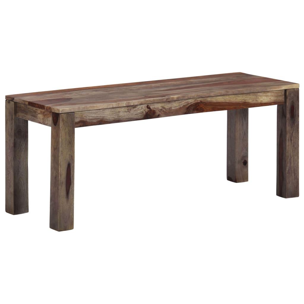 vidaXL Lavička 110 cm sivá masívne sheeshamové drevo