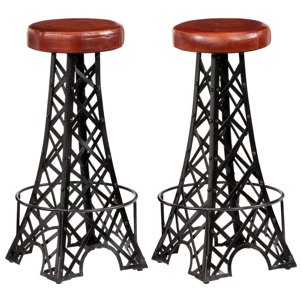 vidaXL Barové stoličky z pravej kože 2 ks 40x40x76 cm