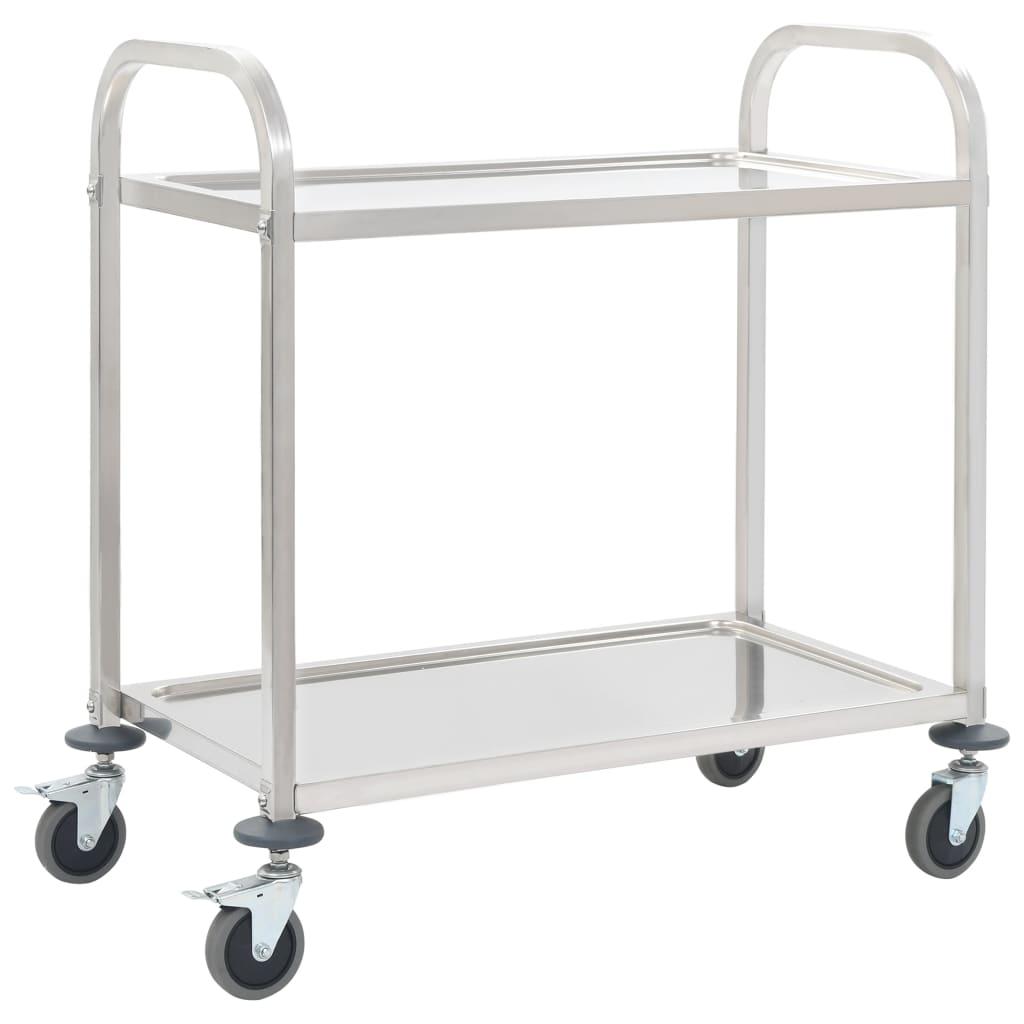 vidaXL Servírovací vozík, 2 police 107x55x90 cm, nehrdzavejúca oceľ