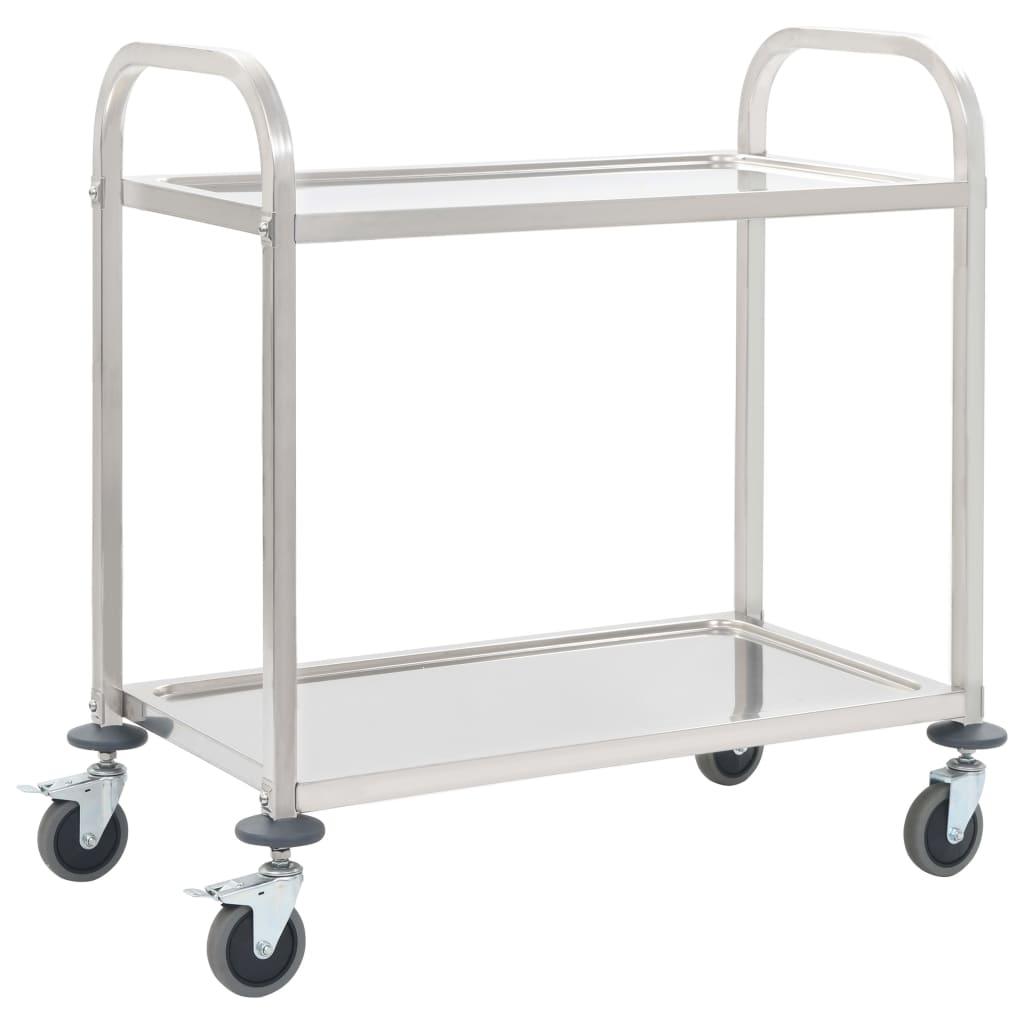 vidaXL Servírovací vozík, 2 police 87x45x83,5 cm, nehrdzavejúca oceľ